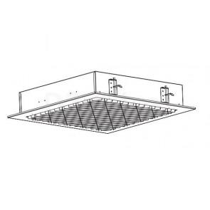 Потолочный светильник с диагональным расположением отражателей, под углом 45° относительно корпуса светильника. Размер: 595 x 595 x 122 мм. (Основное применение: ВКС)