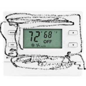 Crestron Heating and Cooling Thermostat, Black
